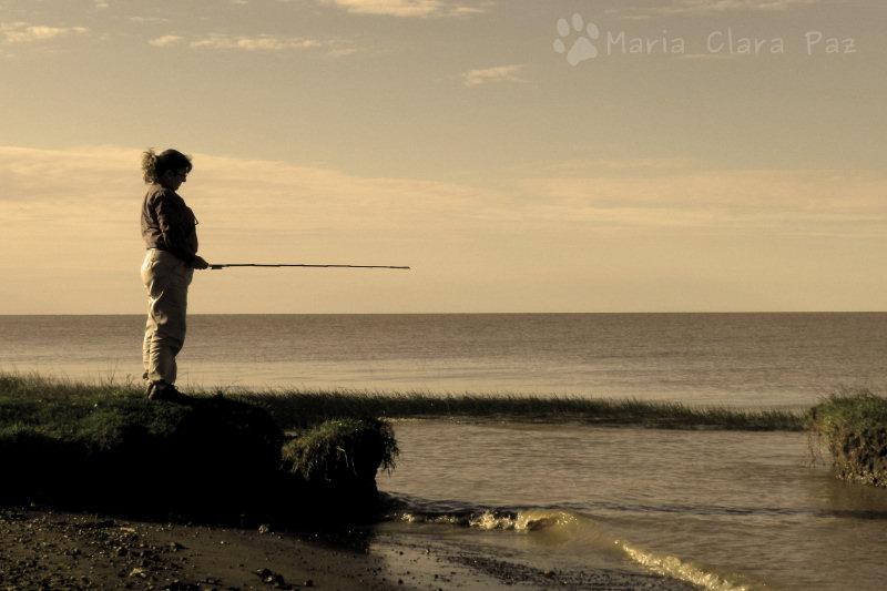 pescando desde la orilla