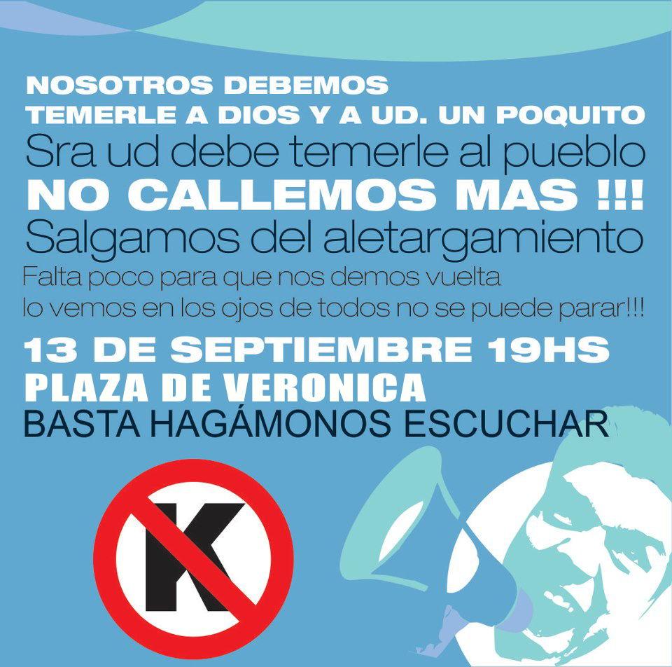 anuncio para el 13 de septiembre cacerolazo en VERÓNICA