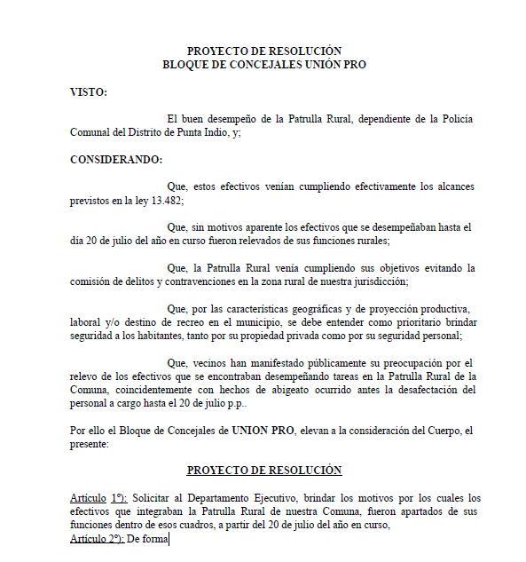 Proyecto PRO Sobre Patrulla Rural